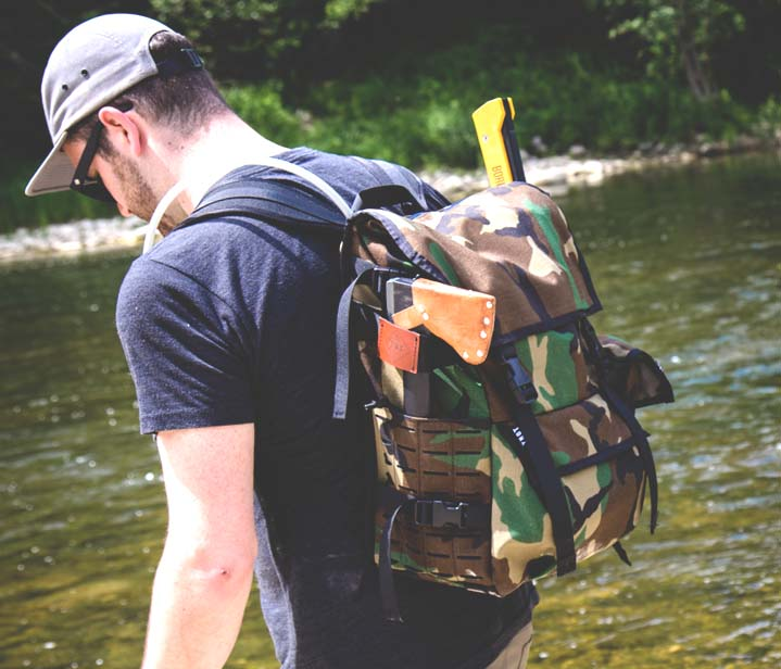 bushcraft backpack with axe holder